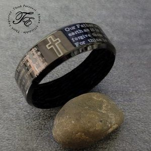 Christian Cross and Lord's Prayer Ring
